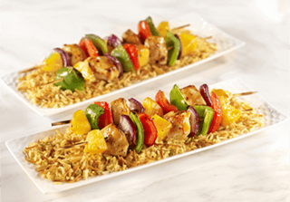 Pineapple Chicken Kabobs with Rice